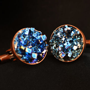 Copper Crystal CuffLinks, Iridescent Bismuth Metal Crystal on Copper, Men's Jewelry Gift Cuff Links