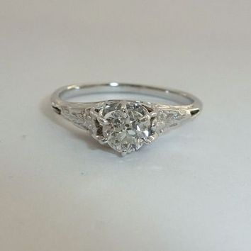 Hand Engraved Floral Art Deco 0.37ct Diamond Engagement Ring