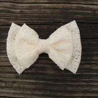 Product - Medium Double Lace bow ( Choose color ) by Little Lady Boutique · Storenvy