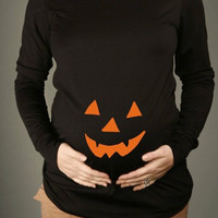 Halloween Pumpkin Face Maternity Shirt