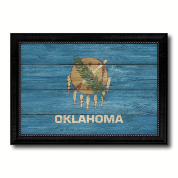 Oklahoma State Flag Texture Canvas Print with Black Picture Frame Home Decor Man Cave Wall Art Collectible Decoration Artwork Gifts