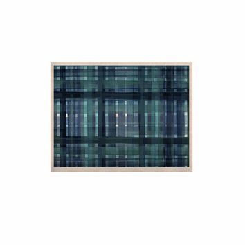"""Ebi Emporium """"PLAID FOR YOU, TEAL BLUE"""" Blue Teal Stripes Pattern Mixed Media Painting KESS Naturals Canvas (Frame not Included)"""