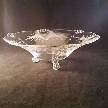 Depression Footed Glass Bowl with Fan Design