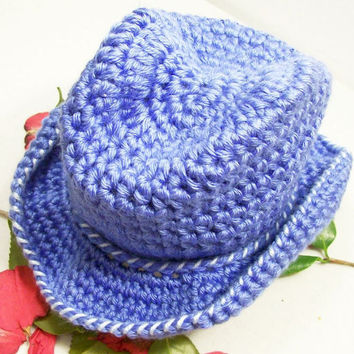 Baby Cowboy Hat- --Light Blue -Baby Boy Gift --Crochet --Made in the USA--Baby Shower Gift--