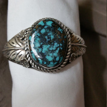 Vintage, Sterling Silver Turquoise Cuff Bracelet