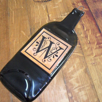 Flat Wine Bottle - Personalized Initial or monogram Label -Great WIne Bottle Cheese Board or Wine Gift