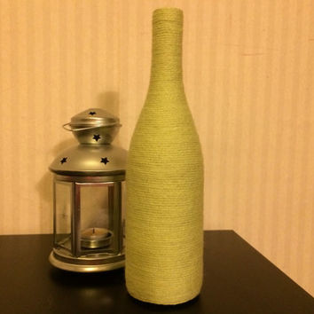 Wine Bottles wrapped with yarn - home décor