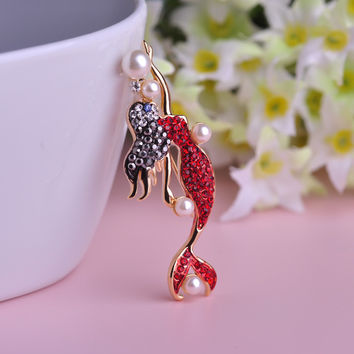 Mermaid Brooch Red Crystal Dress Corsage Exquisite Gold