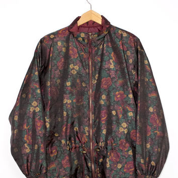80s dark iridescent floral jacket - deadstock vintage 1980s windbreaker - flowers - large