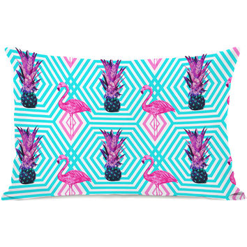 """Tropical Flamingo Pineapple"" Indoor Throw Pillow by OneBellaCasa, 14""x20"""