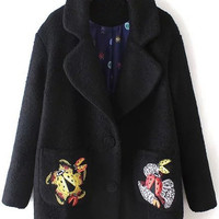 Black Animal-embroidery Lapel Coat