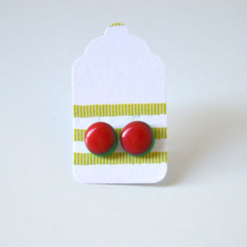 Stud Earrings - Red and Green Stud Earrings - Tiny Stud Earrings - Post Earrings - Colorful Earrings - Handmade Enamel Jewelry Studs