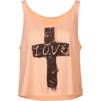 Full Tilt Love Cross Womens Tank Peach  In Sizes