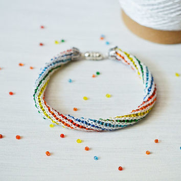 Knit Beaded Fiber Bracelet - Rainbow Crochet Bracelet - Knitted Fiber Eco Jewelry - Unisex Crochet Jewelry