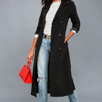 Workday Runway Black Trench Coat