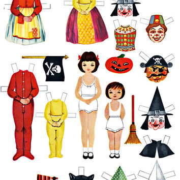paper doll Halloween collage sheet print out set costumes digital download childrens craft pages