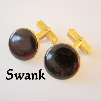 Retro Swank Red Cabochon Designer Signed Cufflinks Vintage Mens Jewelry Jewellery Suit Accessories