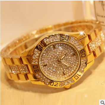2016 brand Fashion Women Watches High Quality Austrian Diamond Women Rhinestone Watches, Rose Gold Woman Lady Dress Watch Clocks