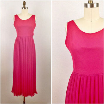 1970's Hot pink pleated chiffon maxi dress- Long gown- Women's formal wear- Size small