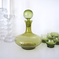Mid Century Mouth Blown Decanter Set