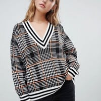 ASOS DESIGN checked v neck jumper with tipping at asos.com