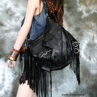 Black fringe hobo bag bohemian rocker studded purse raw edges sweetsmokebags free people goth rocknroll gothic rockstyle rock star metal