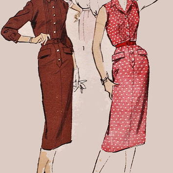 1950s Vintage Sewing Pattern Advance 8178 Rockabilly Sheath ShirtDress Size 20 Bust 40 UNCUT
