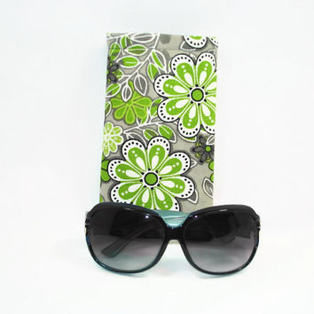 Green Floral Mod Print Sunglasses Case Green Gray Floral Print Case for Large Sunglasses Sleeve Style Sunglasses Holder