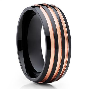 Rose Gold Titanium Ring - Black Titanium - Engagement Ring - Wedding Band