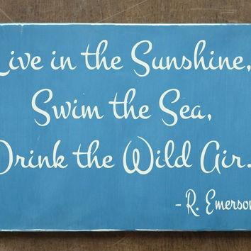 Beach Decor Beach House Sign Nautical Gift Wall Art Live In The Sunshine Emerson Quote Beachy Life Living Sayings Christmas Gifts Wood Signs