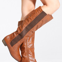 Bamboo Chestnut Faux Leather Pointy Toe Boots
