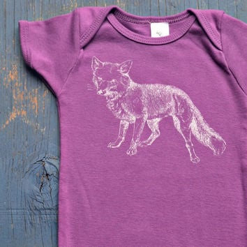 Organic Cotton FOX Onesuit - Ultraviolet Purple Soft Fox Onesuit for Baby Girl or Boy