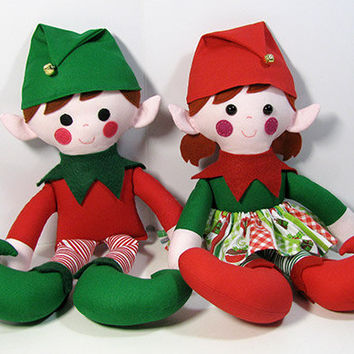 Elf Twins Christmas Doll Sewing Pattern PDF INSTANT DOWNLOAD