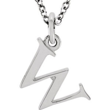 """14K Rose """"y"""" Lowercase Initial 16"""" Necklace"""