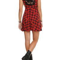 Black and Red Skull Plaid Dress