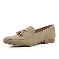 River Island MensStone suede tassel loafers