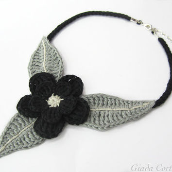 Crochet necklace,crochet choker,crochet flower choker,black flower necklace,fiber necklace,cotton,black,gray,fall,gift for her,october gift