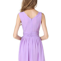 Lavender Deep-V Pleated Chiffon Dress