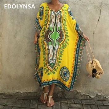 DKLW8 Beach Cover Up Ethnic Print Women Beach Kaftan Cover ups Ladies Saida de Praia Tunics Beachwear Large Size Robe de Plage #Q262