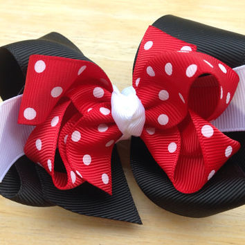 4 inch double boutique Minnie inspired hair bow - red polka dot bow, red & black bow