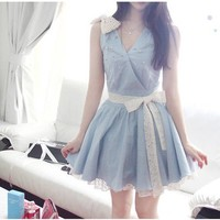 Spring Light Blue Denim Cute Pearl Ribbon Shoulder Lace Belt Waist Mini Dress