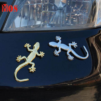 AG 26 Mosunx Business 2016 Hot Selling Fashion Metalic Gecko Solid Truck Sticker Decor Styling Cool 3D Lizard Car Decal