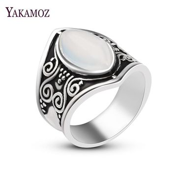 YAKAMOZ Antique Silver Color Oval Moonstone Bohemia Ring Punk Exaggerated Carving Finger Ring for Women Men Jewelry