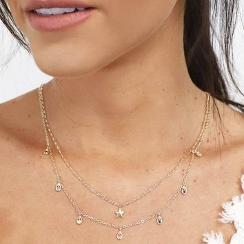 Past Life Dainty Layered Rhinestone Star Necklace RACHEL