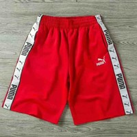 PUMA New fashion women and men sides edge marke shorts Red