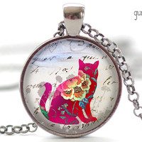Cat Necklace, Cat Altered Art Pendant, Cat Jewelry, Your Choice of Finish (359)