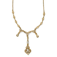 Gold Tone Downton Abbey Cascading Teardrop Necklace