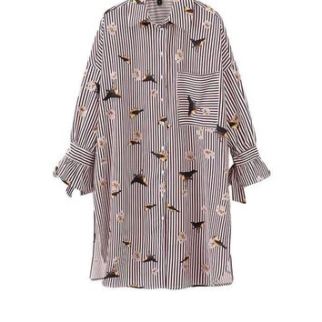 New Autumn Women Tops And Blouses Striped Pockets Long Shirts Butterfly Printed Lantern Sleeve