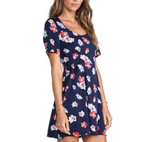 Blue Floral Print Short Sleeve Pleated Mini Dress