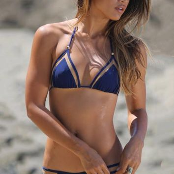 Gauze Halter Beach Bikini Set Swimsuit Swimwear
